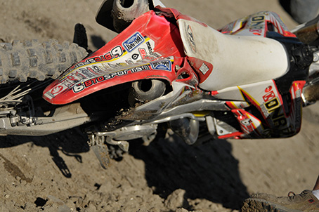 Messed up fender...  Best wishes to the rider...