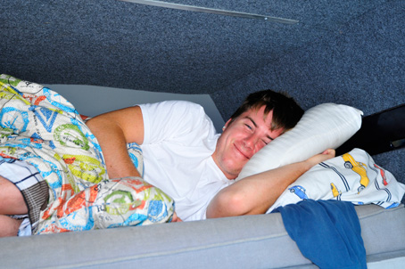 Brendan White wake up!  (sleeping in their van at the track)